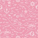 Cute seamless pattern with dolphins, octopus, fish, anchor, helm. Waves, seashells, starfish, crab. Design for banner, poster or print Stock Image
