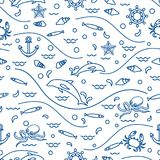 Cute seamless pattern with dolphins, octopus, fish, anchor, helm. Waves, seashells, starfish, crab. Design for banner, poster or print Royalty Free Stock Images