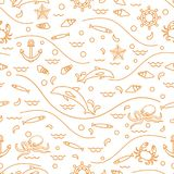 Cute seamless pattern with dolphins, octopus, fish, anchor, helm. Waves, seashells, starfish, crab. Design for banner, poster or print Royalty Free Stock Photos