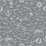 Cute seamless pattern with dolphins, octopus, fish, anchor, helm. Waves, seashells, starfish, crab. Design for banner, poster or print Stock Photo