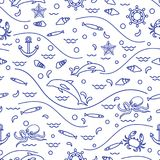 Cute seamless pattern with dolphins, octopus, fish, anchor, helm. Waves, seashells, starfish, crab. Design for banner, poster or print Stock Photos