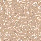 Cute seamless pattern with dolphins, octopus, fish, anchor, helm. Waves, seashells, starfish, crab. Design for banner, poster or print Royalty Free Stock Photo