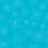 Cute seamless pattern with doodle flowers Royalty Free Stock Photo