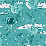 Cute seamless pattern with doodle fox and boy-astronaut on balloons flying in starry sky Stock Images