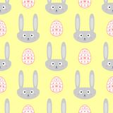 Cute seamless pattern with Easter bunnies and eggs. Endless vector illustration royalty free illustration