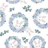 Cute seamless pattern with Easter wreath stock illustration