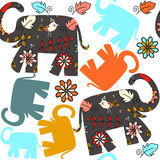 Cute seamless pattern with elephants and seamless pattern in swa Stock Photos
