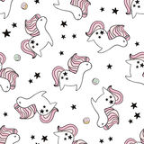 Cute seamless pattern with fairy unicorns and donuts. Childish texture for fabric, textile. Scandinavian style. Royalty Free Stock Images