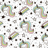 Cute seamless pattern with fairy unicorns and starfall. Childish texture for fabric, textile. Scandinavian style. Stock Image