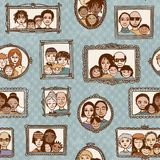Cute seamless pattern with families