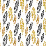 Cute seamless pattern with feathers on white background Stock Photography