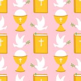 Cute seamless pattern for First Communion for girls. Cute pink seamless pattern for First Communion for girls Stock Photography