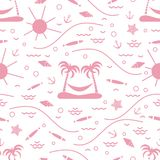 Cute seamless pattern with fish, island with palm trees and a ha. Mmock, anchor, sun, waves, seashells, starfish. Design for banner, poster or print Royalty Free Stock Photography
