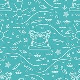 Cute seamless pattern with fish, island with palm trees and a ha. Mmock, anchor, sun, waves, seashells, starfish. Design for banner, poster or print Royalty Free Stock Image