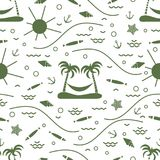 Cute seamless pattern with fish, island with palm trees and a ha. Mmock, anchor, sun, waves, seashells, starfish. Design for banner, poster or print Royalty Free Stock Photos