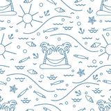 Cute seamless pattern with fish, island with palm trees and a ha. Mmock, anchor, sun, waves, seashells, starfish. Design for banner, poster or print Stock Image