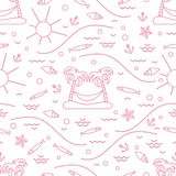 Cute seamless pattern with fish, island with palm trees and a ha. Mmock, anchor, sun, waves, seashells, starfish. Design for banner, poster or print Stock Photo