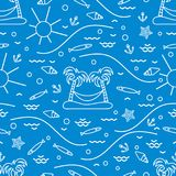 Cute seamless pattern with fish, island with palm trees and a ha. Mmock, anchor, sun, waves, seashells, starfish. Design for banner, poster or print Royalty Free Stock Images