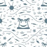 Cute seamless pattern with fish, island with palm trees and a ha. Mmock, anchor, sun, waves, seashells, starfish. Design for banner, poster or print Stock Photography