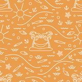 Cute seamless pattern with fish, island with palm trees and a ha. Mmock, anchor, sun, waves, seashells, starfish. Design for banner, poster or print Royalty Free Stock Photo
