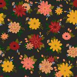 Vector Pattern in Doodle Style with Flowers and Leaves. Royalty Free Stock Photos