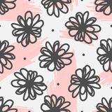 Cute seamless pattern with flowers and brushstrokes drawn by hand. Sketch, watercolour, doodle, scribble. Endless floral vector illustration Stock Photo