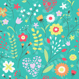 Cute seamless pattern with flowers. Royalty Free Stock Photos