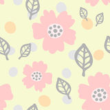 Cute seamless pattern with flowers, leaves and round spots. Drawn by hand. Pastel sketch. Pink, green, beige, gray colour. Vector illustration Stock Photos
