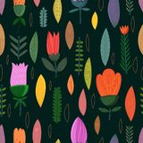 Cute seamless pattern with flowers Royalty Free Stock Photos