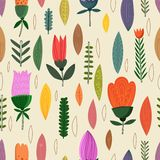 Cute seamless pattern with flowers. Stock Image