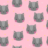 Cute Seamless Pattern For Children With Funny Cats. Smile Characters Stock Images