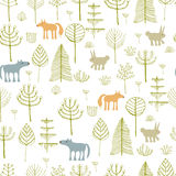 Cute seamless pattern with forest animals. Stock Image
