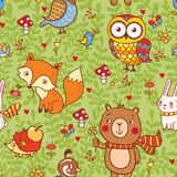Cute seamless pattern with forest animals. Royalty Free Stock Image
