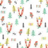 Cute seamless pattern with foxes. Cute seamless pattern with fox and bird in winter time in forest on a white background. Vector illustration in cartoon style Stock Photos