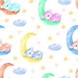 Cute seamless pattern with funny bear and moon. Nursery teddy bear illustration. royalty free stock photos