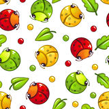 Cute seamless pattern with funny bugs and leaves. On white background. Vector childish texture tile Royalty Free Stock Images