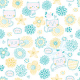 Cute seamless pattern with funny cartoon cats. Birds and flowers Royalty Free Stock Photography