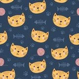 Cute seamless pattern with funny cat Royalty Free Stock Photography