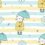 Cute seamless pattern with funny cat and umbrella. vector print stock image