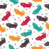 Cute seamless pattern with funny cats Royalty Free Stock Photo