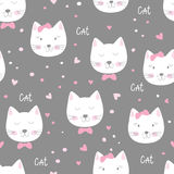 Cute seamless pattern with funny cats Stock Photography