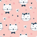 Cute seamless pattern with funny cats Stock Image