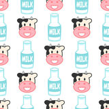 Cute seamless pattern with funny cow and bottle of milk. Farm background in style cartoon Stock Illustration