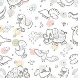 Cute seamless pattern with funny dinosaurs. vector illustration. Cute seamless pattern with funny dinosaurs. vector illustration Stock Photo