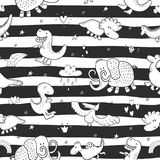 Cute seamless pattern with funny dinosaurs. vector illustration. Cute seamless pattern with funny dinosaurs. vector illustration Royalty Free Stock Image