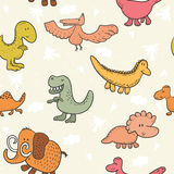 Cute seamless pattern with funny dinosaurs. vector illustration.  Stock Photos