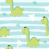 Cute seamless pattern with funny dinosaurs. vector illustration. stock image
