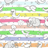 Cute seamless pattern with funny dinosaurs. vector illustration. Cute seamless pattern with funny dinosaurs. vector illustration Royalty Free Stock Photos