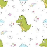 Cute seamless pattern with funny dinosaurs. vector illustration. Cute seamless pattern with funny dinosaurs. vector illustration Royalty Free Stock Photography