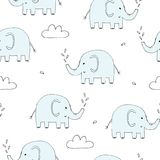 Cute seamless pattern with funny elephant. vector illustration Stock Photos